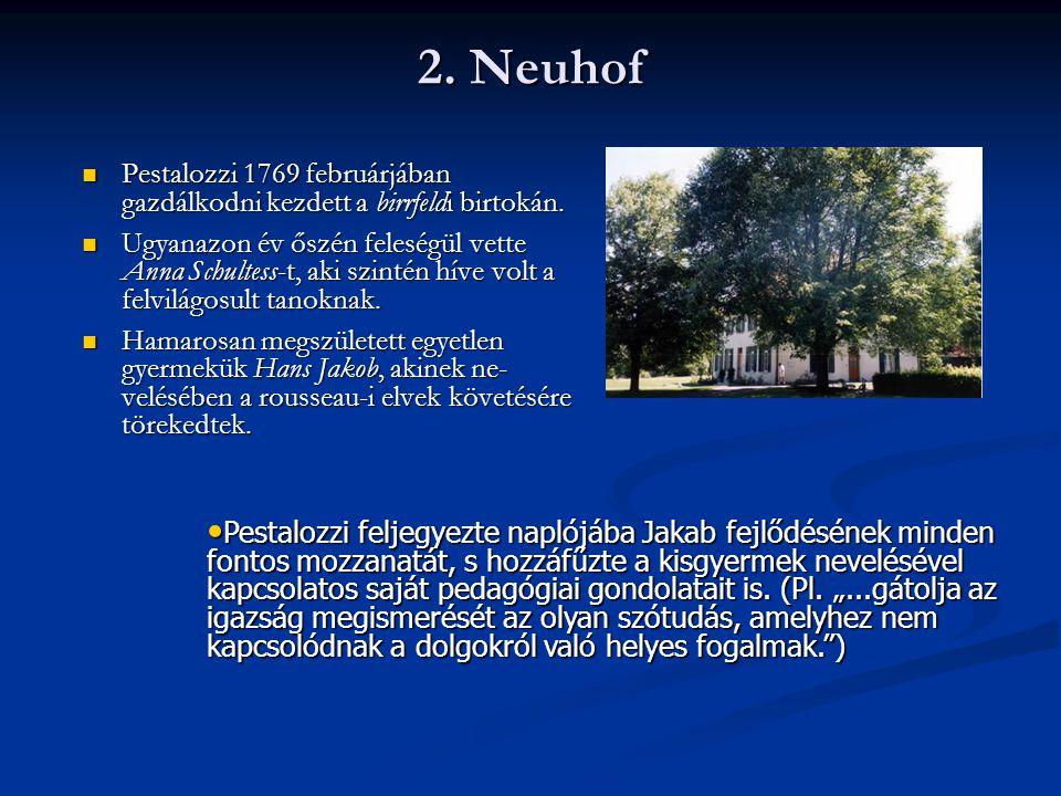 2. Neuhof Pestalozzi 1769 februárjában gazdálkodni kezdett a birrfeldi birtokán.