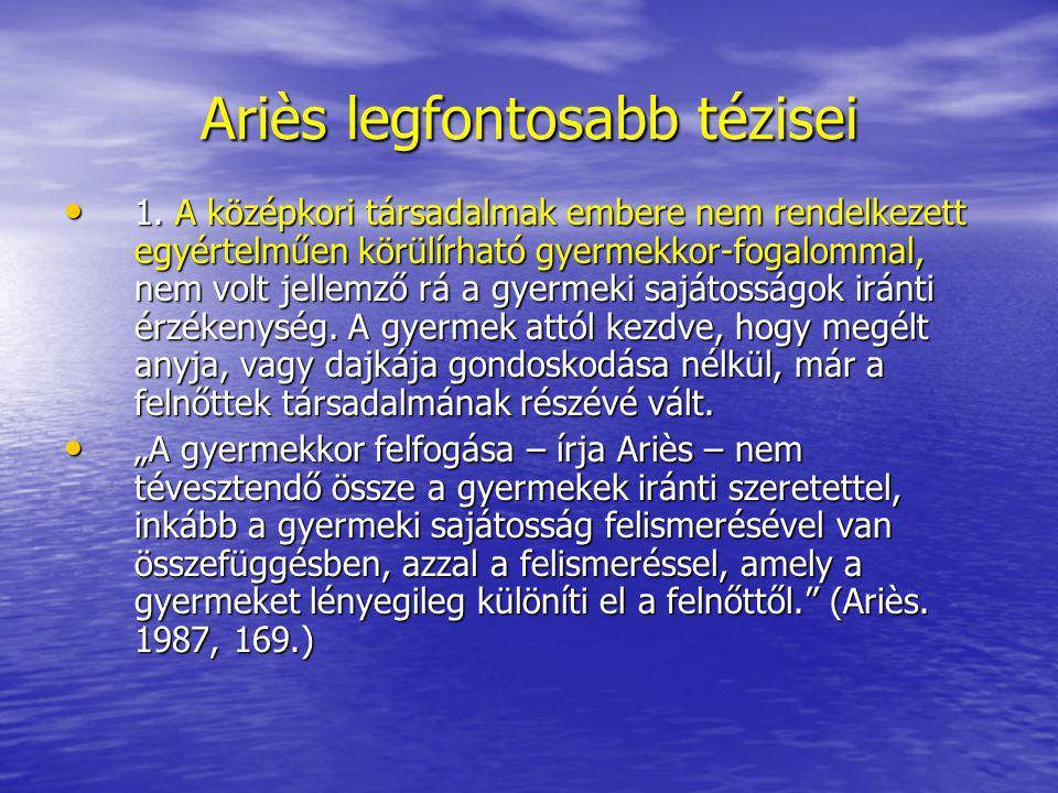 Ariès legfontosabb tézisei