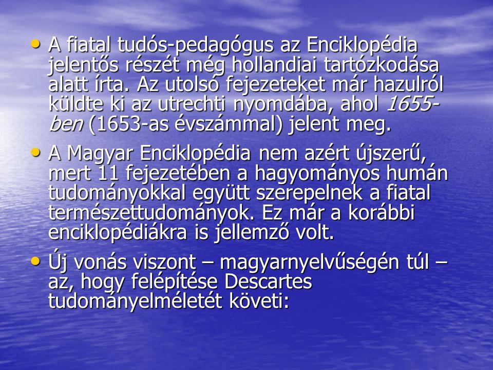 A fiatal tudós-pedagógus az Enciklopédia jelentős részét még hollandiai tartózkodása alatt írta. Az utolsó fejezeteket már hazulról küldte ki az utrechti nyomdába, ahol 1655-ben (1653-as évszámmal) jelent meg.