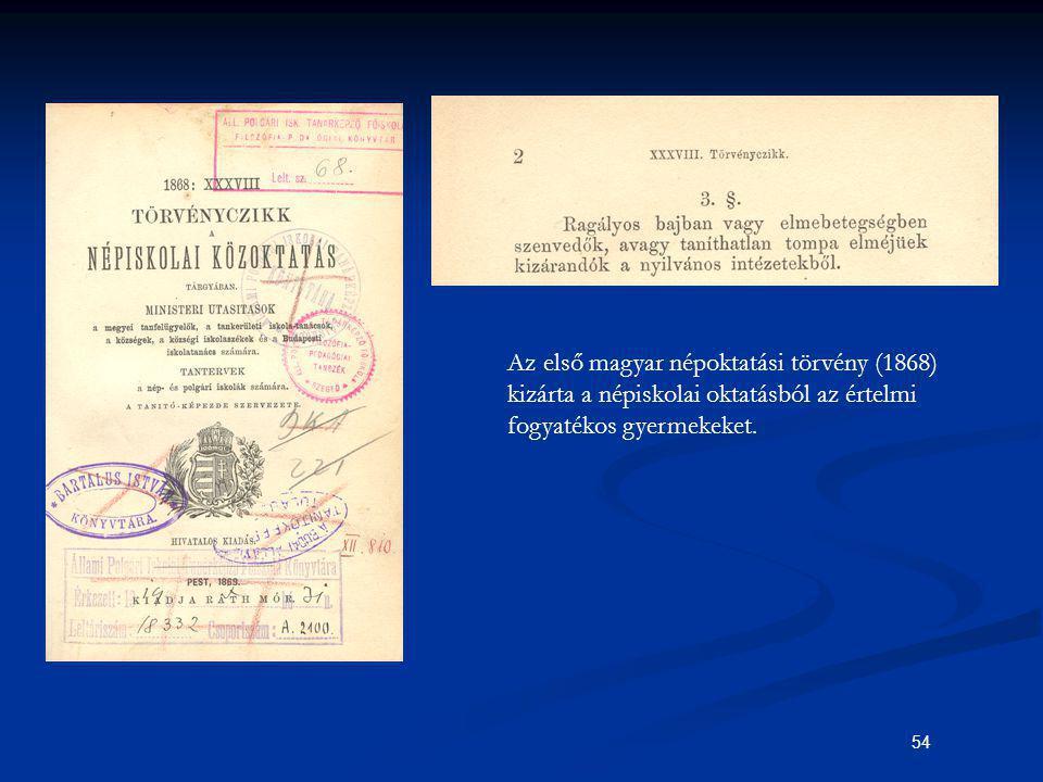 Az első magyar népoktatási törvény (1868) kizárta a népiskolai oktatásból az értelmi fogyatékos gyermekeket.