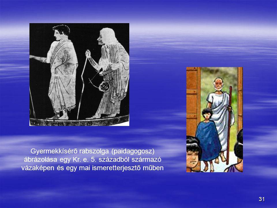 Gyermekkísérő rabszolga (paidagogosz) ábrázolása egy Kr. e. 5