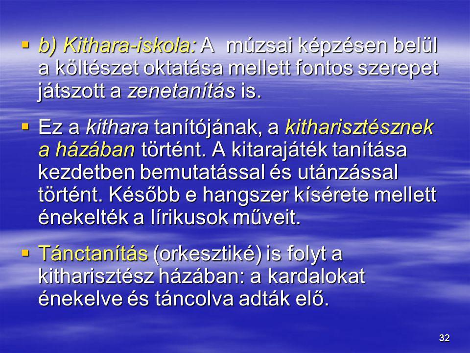 b) Kithara-iskola: A múzsai képzésen belül a költészet oktatása mellett fontos szerepet játszott a zenetanítás is.