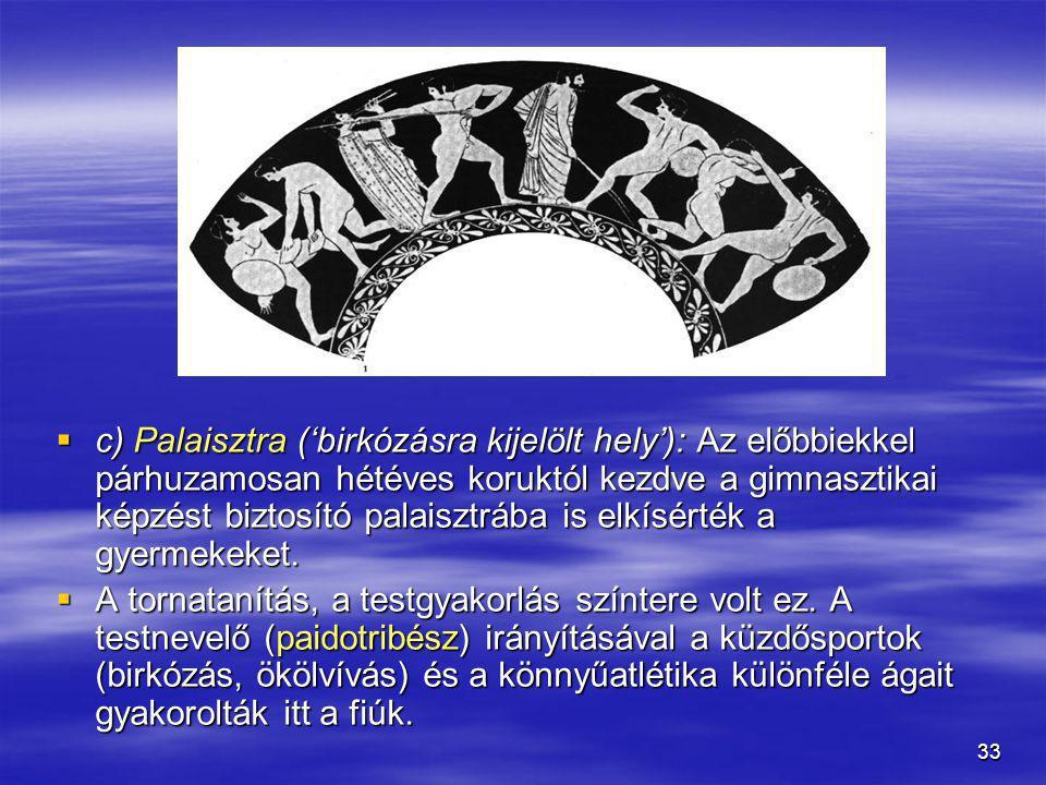 c) Palaisztra ('birkózásra kijelölt hely'): Az előbbiekkel párhuzamosan hétéves koruktól kezdve a gimnasztikai képzést biztosító palaisztrába is elkísérték a gyermekeket.