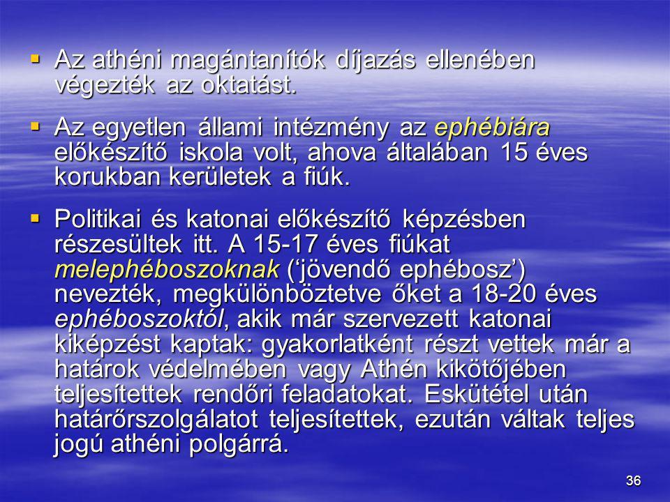 Az athéni magántanítók díjazás ellenében végezték az oktatást.