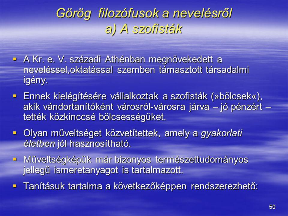 Görög filozófusok a nevelésről a) A szofisták