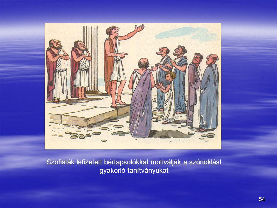 Szofisták lefizetett bértapsolókkal motiválják a szónoklást gyakorló tanítványukat