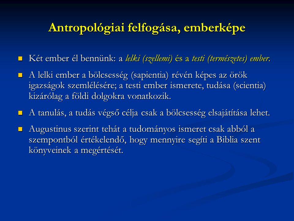 Antropológiai felfogása, emberképe