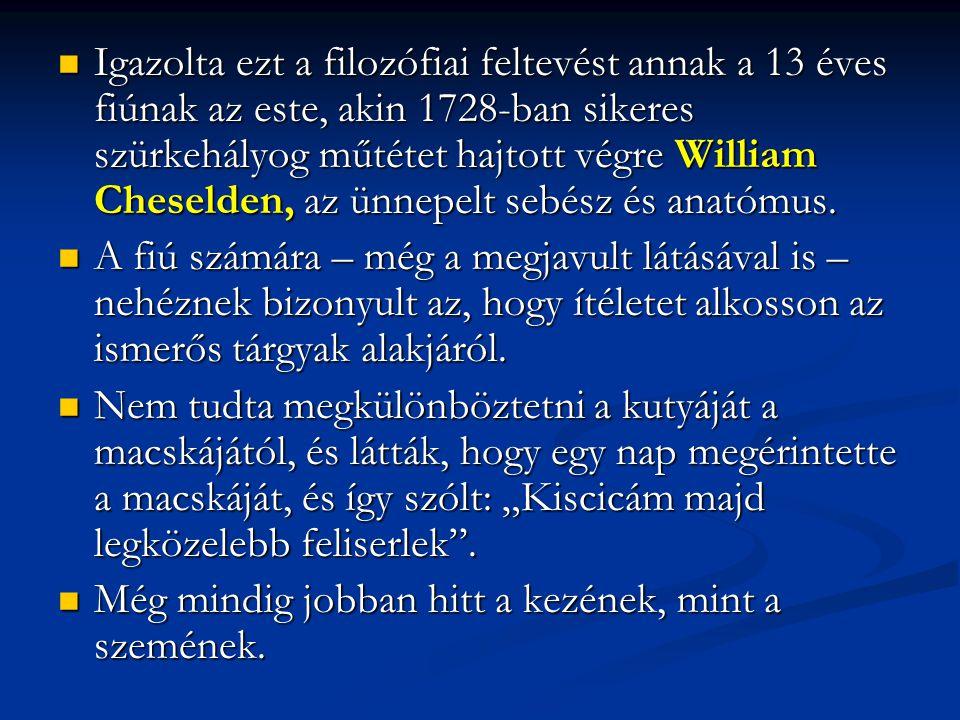 Igazolta ezt a filozófiai feltevést annak a 13 éves fiúnak az este, akin 1728-ban sikeres szürkehályog műtétet hajtott végre William Cheselden, az ünnepelt sebész és anatómus.