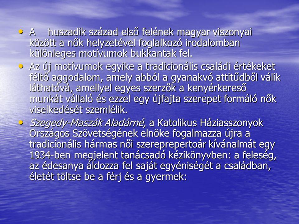 A huszadik század első felének magyar viszonyai között a nők helyzetével foglalkozó irodalomban különleges motívumok bukkantak fel.