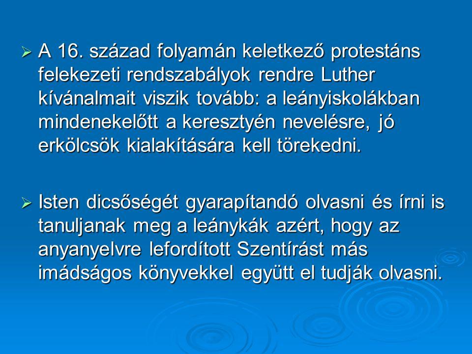 A 16. század folyamán keletkező protestáns felekezeti rendszabályok rendre Luther kívánalmait viszik tovább: a leányiskolákban mindenekelőtt a keresztyén nevelésre, jó erkölcsök kialakítására kell törekedni.