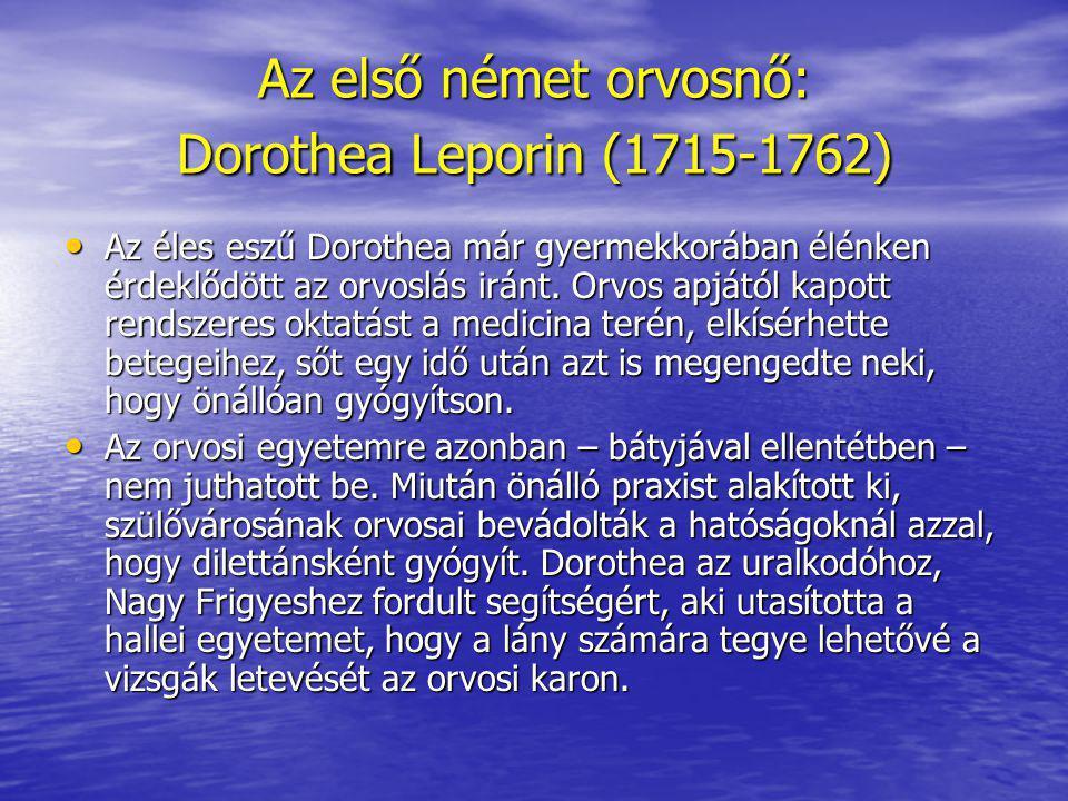 Az első német orvosnő: Dorothea Leporin (1715-1762)
