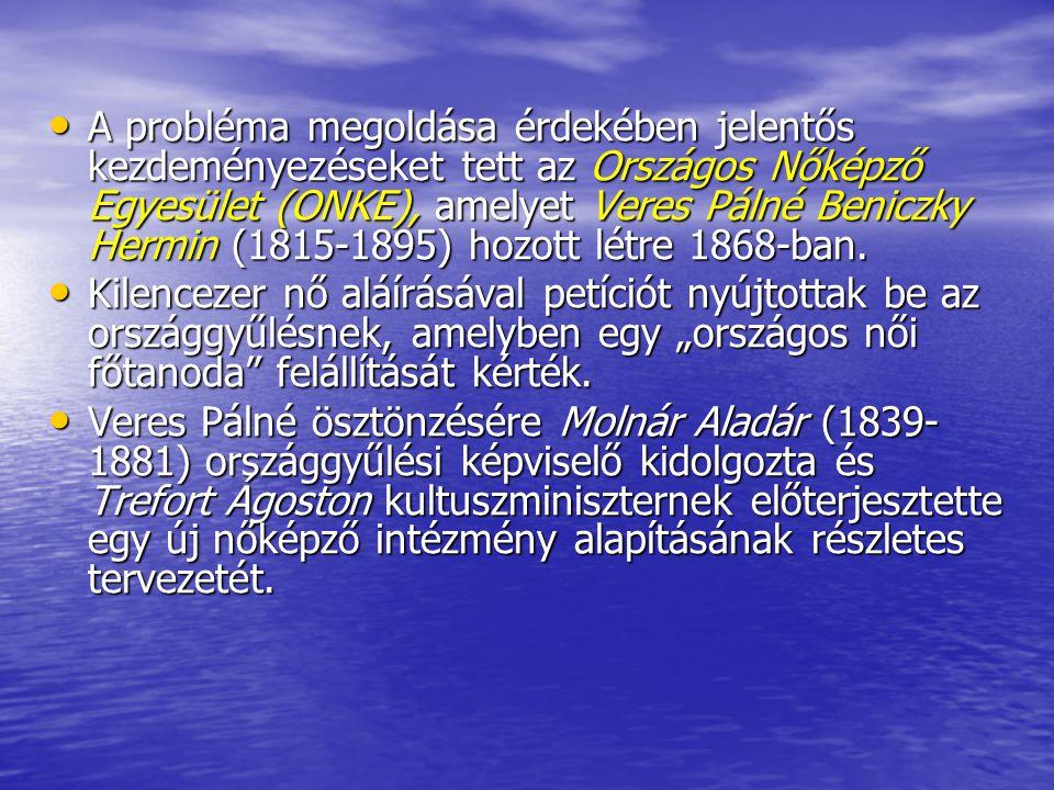 A probléma megoldása érdekében jelentős kezdeményezéseket tett az Országos Nőképző Egyesület (ONKE), amelyet Veres Pálné Beniczky Hermin (1815-1895) hozott létre 1868-ban.