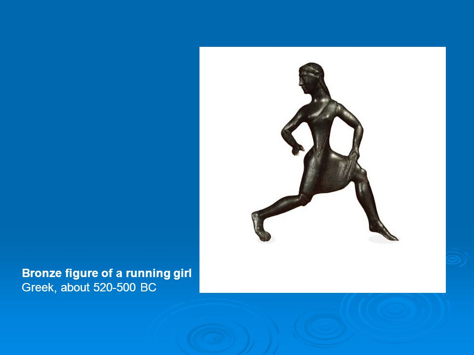 Bronze figure of a running girl
