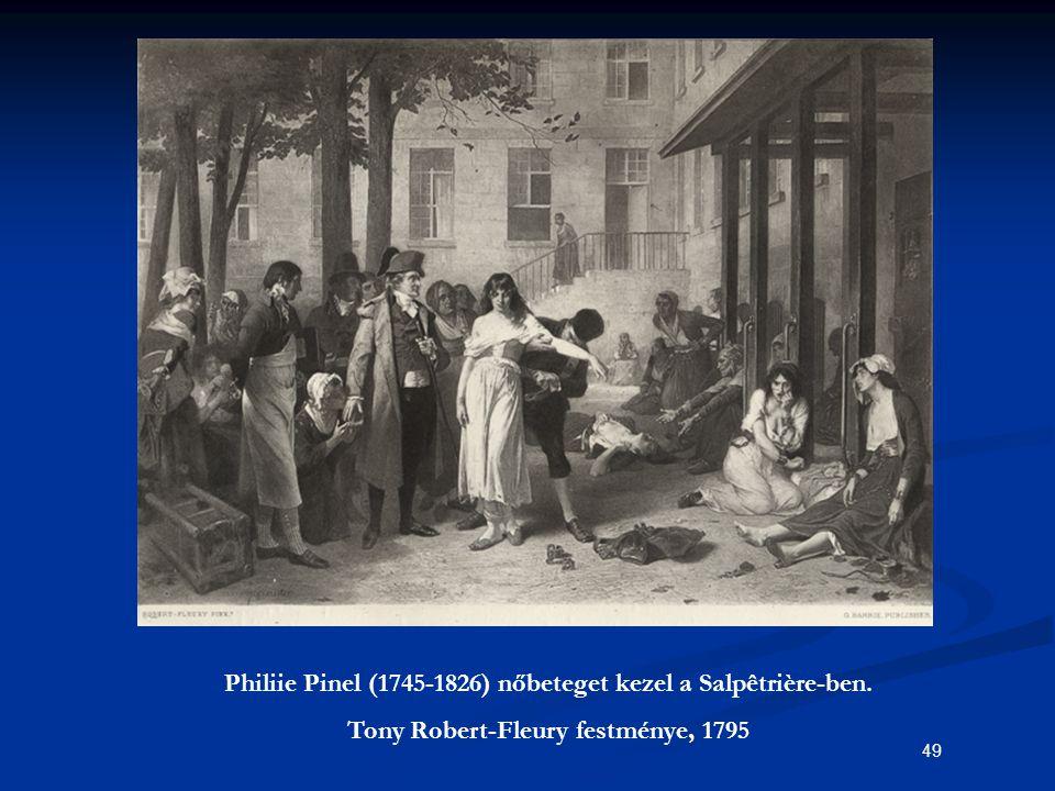 Philiie Pinel (1745-1826) nőbeteget kezel a Salpêtrière-ben.