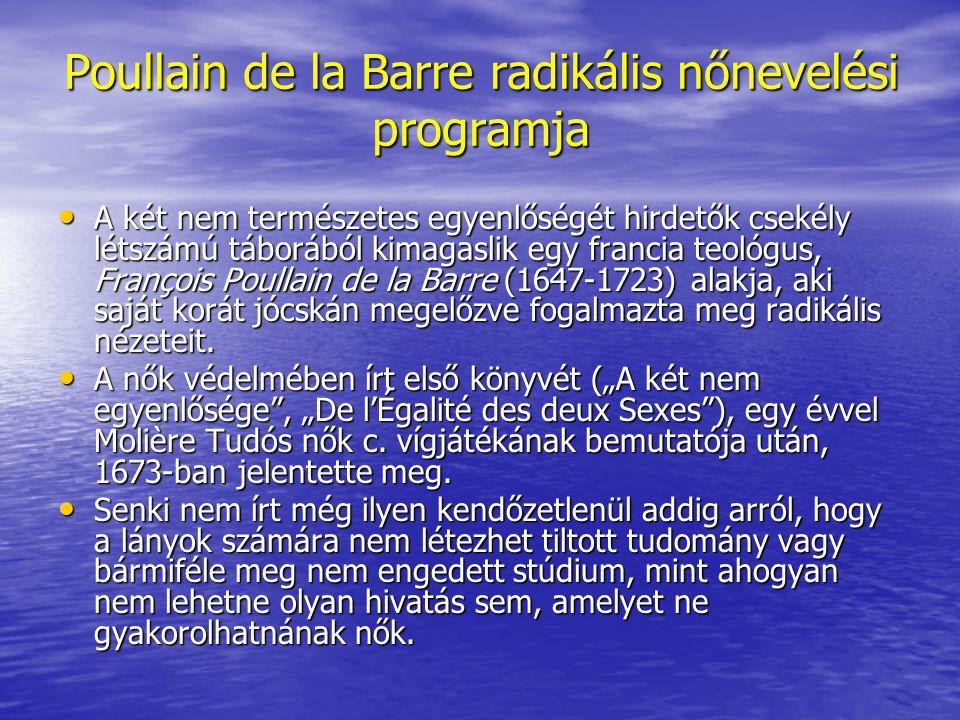 Poullain de la Barre radikális nőnevelési programja