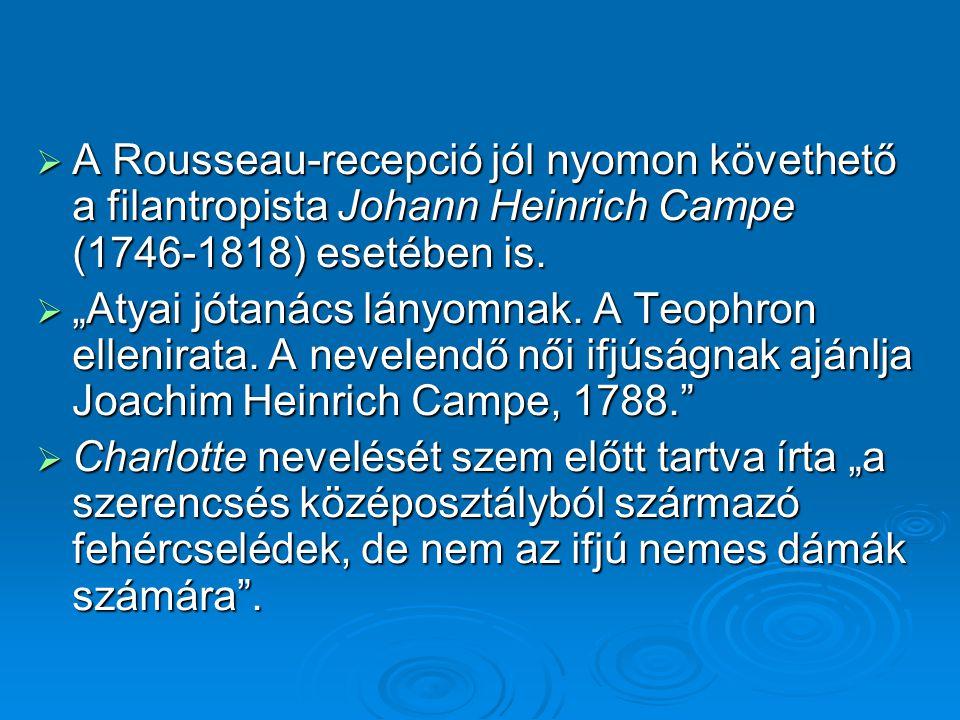 A Rousseau-recepció jól nyomon követhető a filantropista Johann Heinrich Campe (1746-1818) esetében is.