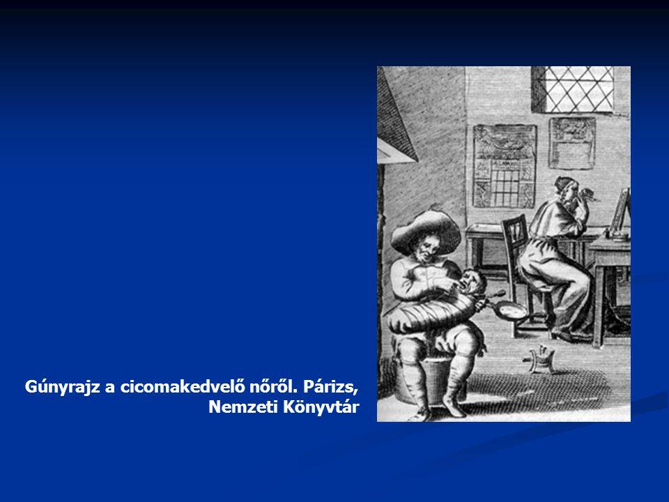 Gúnyrajz a cicomakedvelő nőről. Párizs, Nemzeti Könyvtár