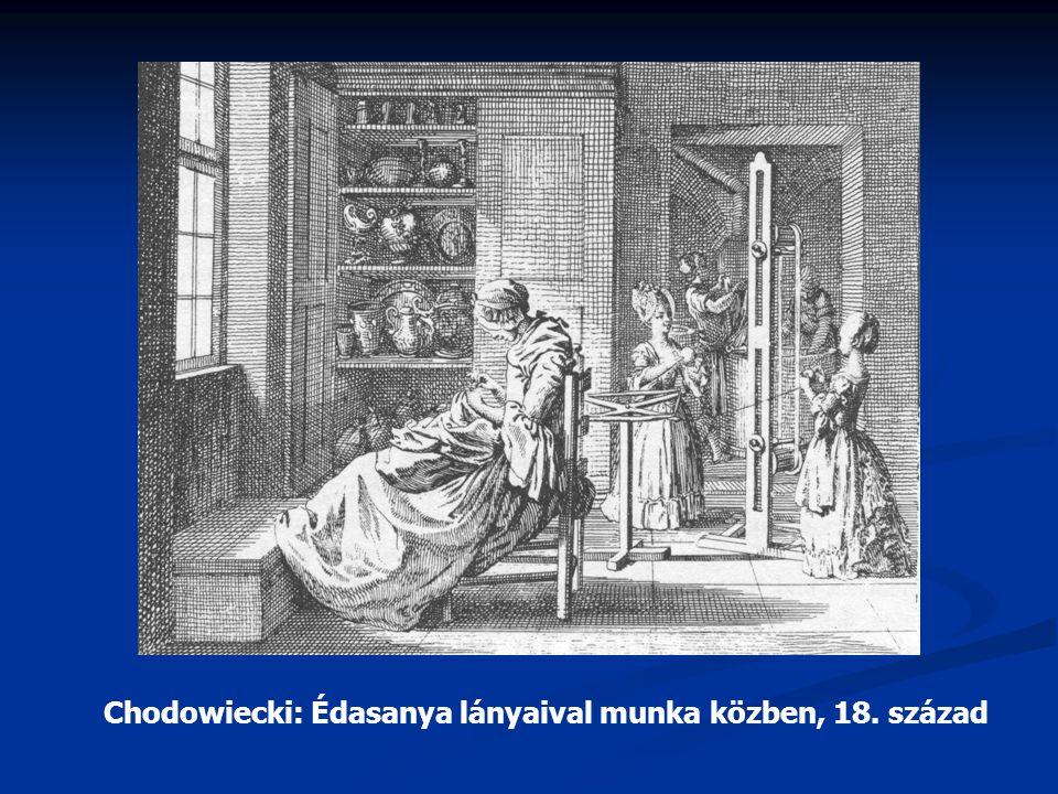 Chodowiecki: Édasanya lányaival munka közben, 18. század