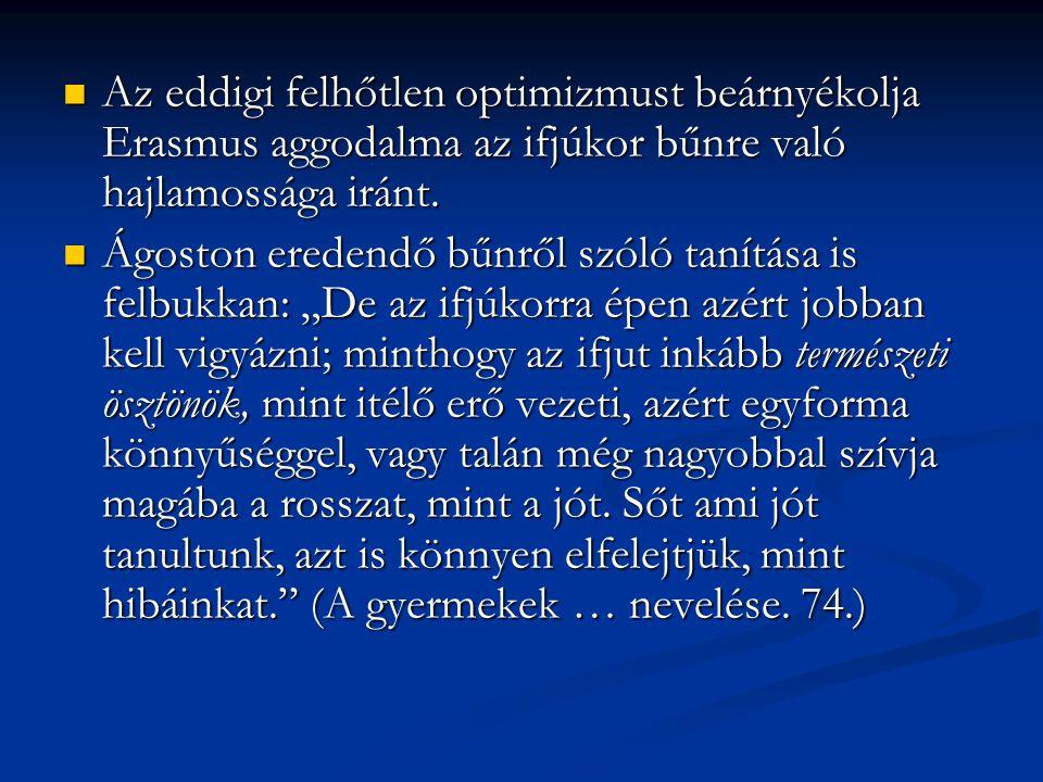 Az eddigi felhőtlen optimizmust beárnyékolja Erasmus aggodalma az ifjúkor bűnre való hajlamossága iránt.