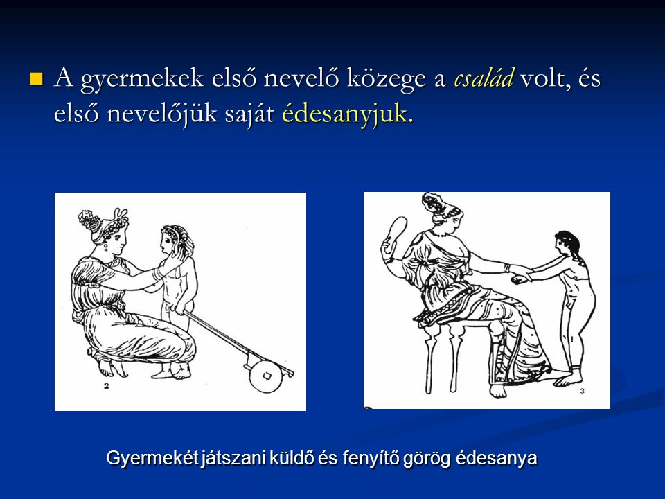 Gyermekét játszani küldő és fenyítő görög édesanya