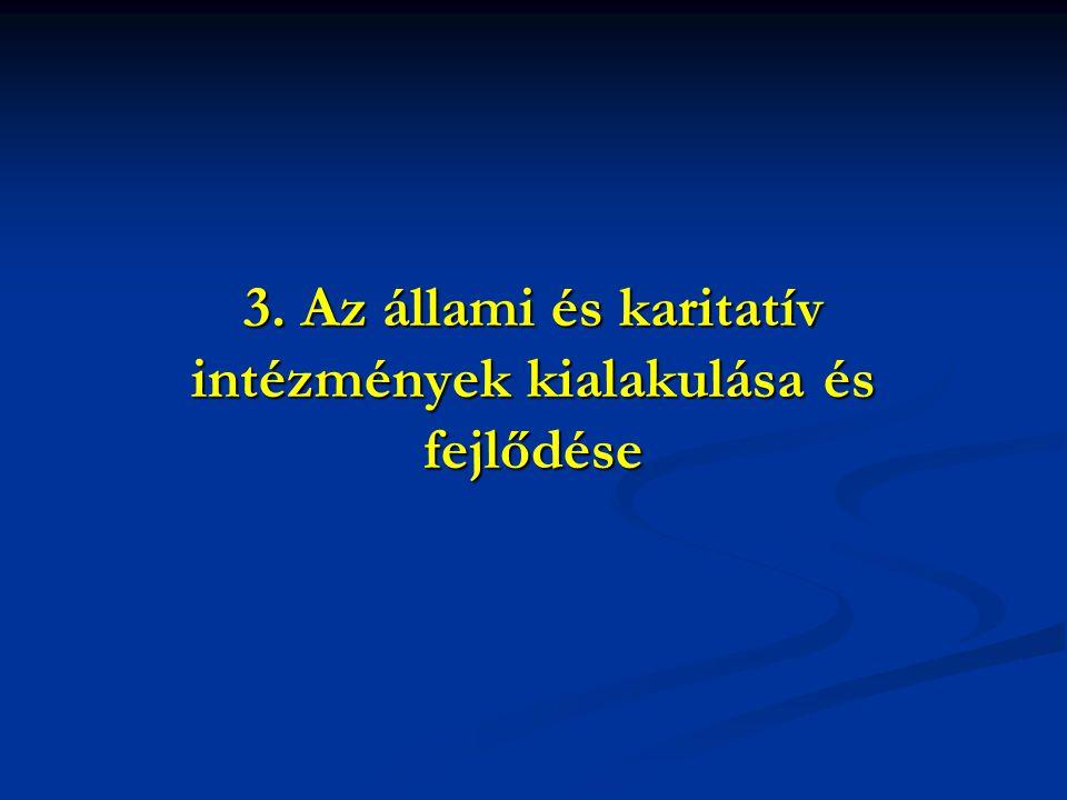 3. Az állami és karitatív intézmények kialakulása és fejlődése