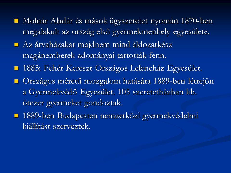Molnár Aladár és mások ügyszeretet nyomán 1870-ben megalakult az ország első gyermekmenhely egyesülete.