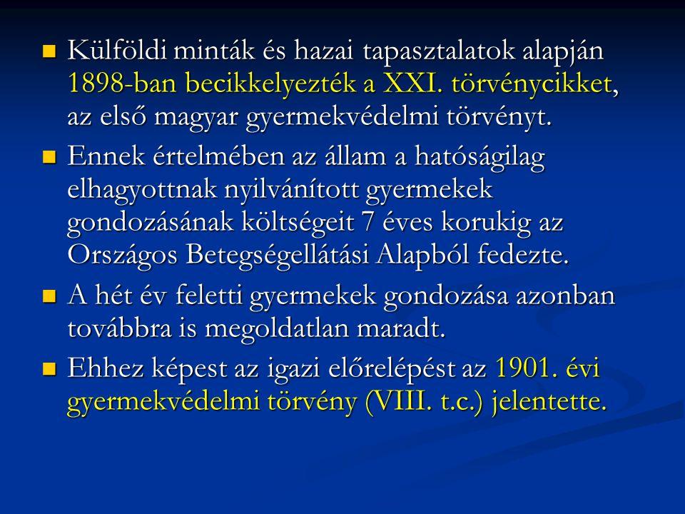 Külföldi minták és hazai tapasztalatok alapján 1898-ban becikkelyezték a XXI. törvénycikket, az első magyar gyermekvédelmi törvényt.