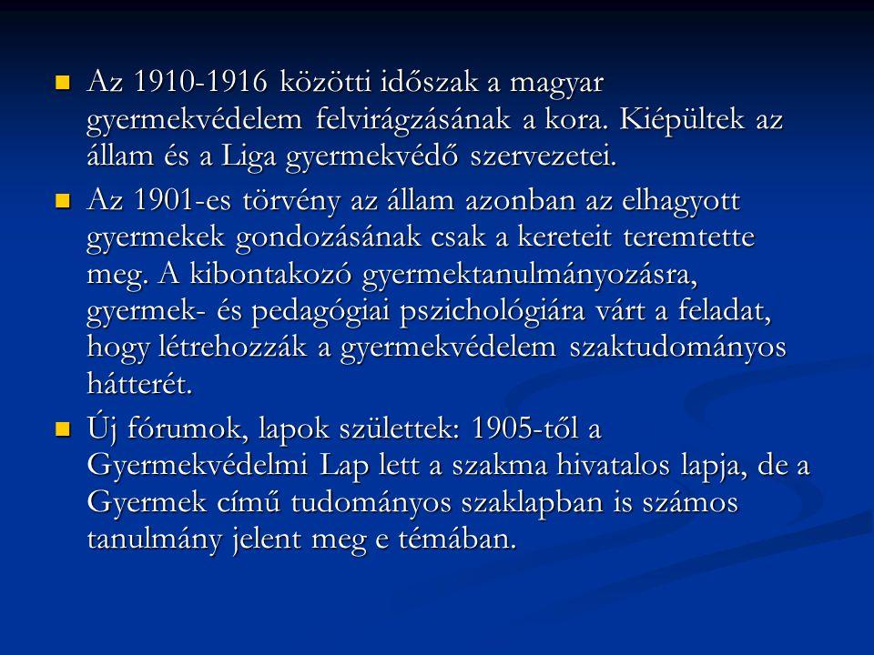 Az 1910-1916 közötti időszak a magyar gyermekvédelem felvirágzásának a kora. Kiépültek az állam és a Liga gyermekvédő szervezetei.