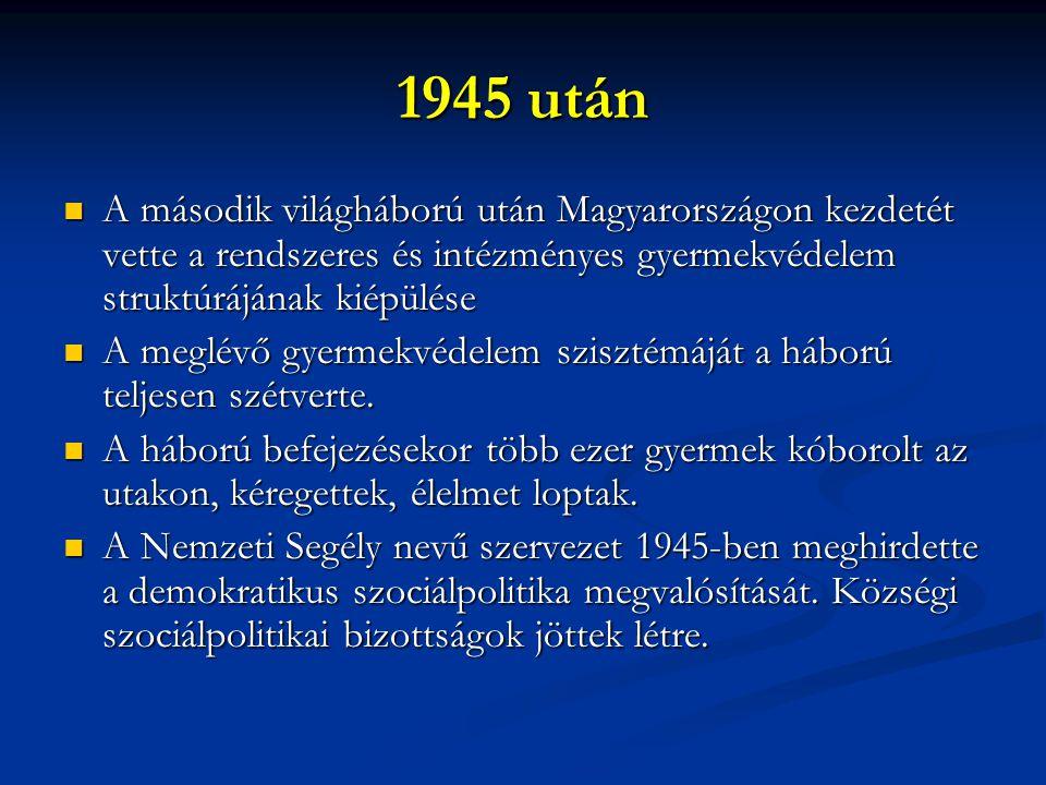 1945 után A második világháború után Magyarországon kezdetét vette a rendszeres és intézményes gyermekvédelem struktúrájának kiépülése.