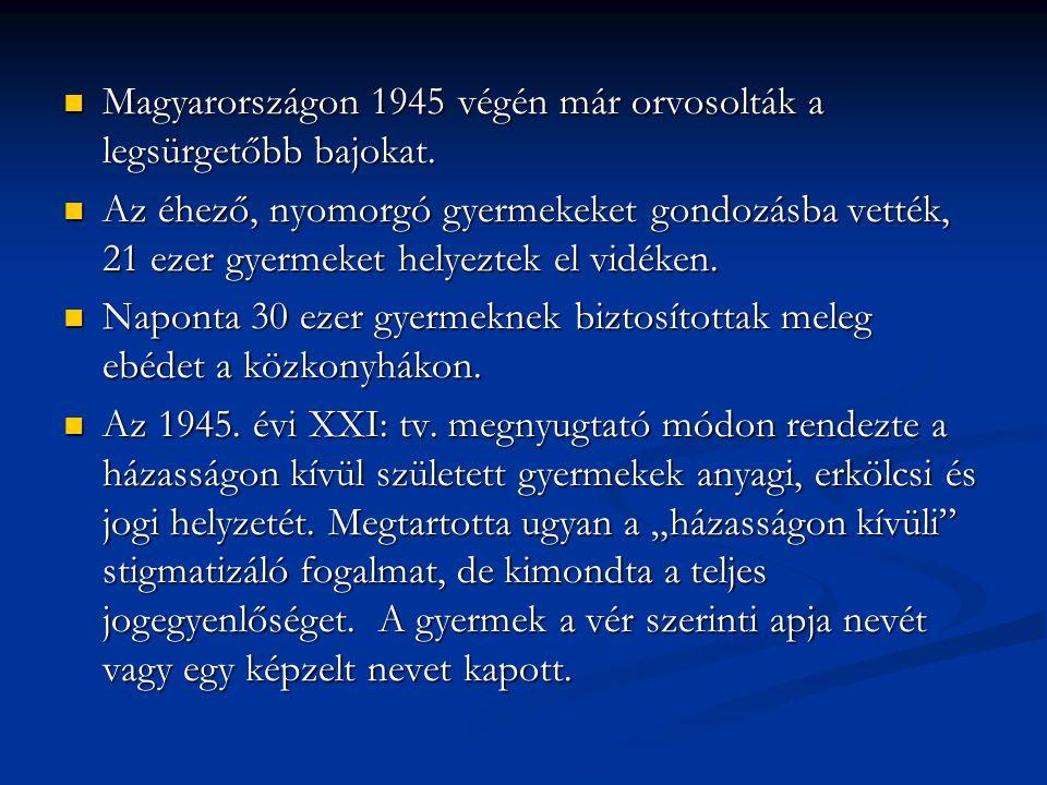 Magyarországon 1945 végén már orvosolták a legsürgetőbb bajokat.