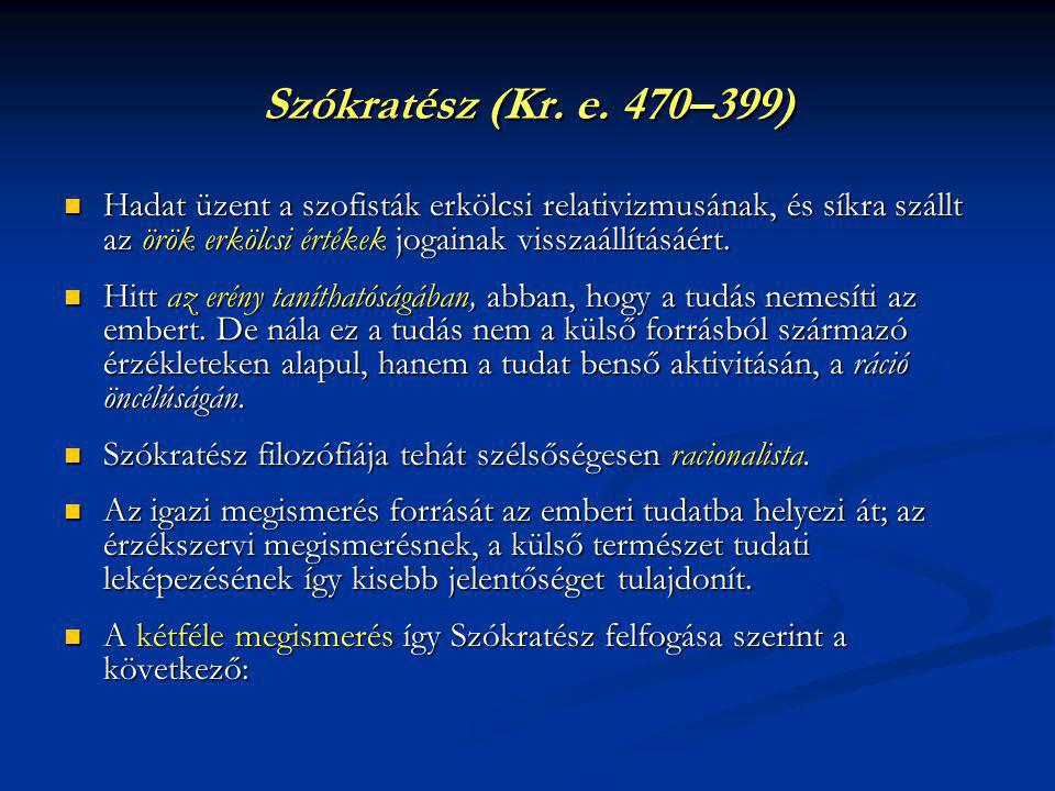 Szókratész (Kr. e. 470–399) Hadat üzent a szofisták erkölcsi relativizmusának, és síkra szállt az örök erkölcsi értékek jogainak visszaállításáért.