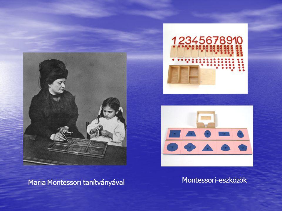 Montessori-eszközök Maria Montessori tanítványával
