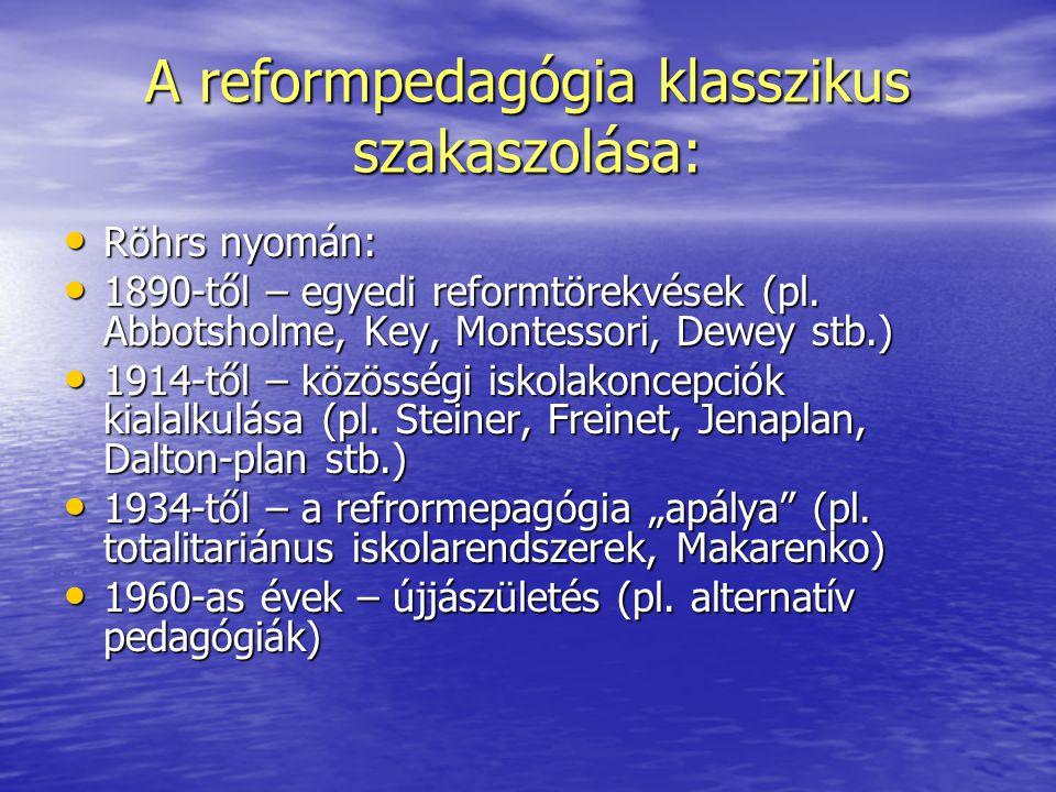 A reformpedagógia klasszikus szakaszolása:
