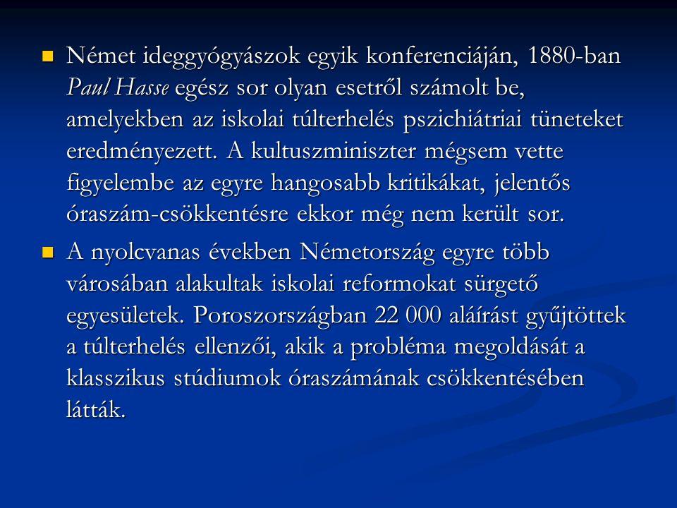 Német ideggyógyászok egyik konferenciáján, 1880-ban Paul Hasse egész sor olyan esetről számolt be, amelyekben az iskolai túlterhelés pszichiátriai tüneteket eredményezett. A kultuszminiszter mégsem vette figyelembe az egyre hangosabb kritikákat, jelentős óraszám-csökkentésre ekkor még nem került sor.