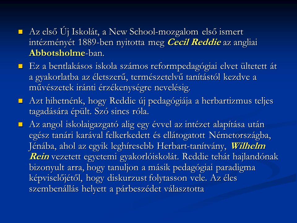 Az első Új Iskolát, a New School-mozgalom első ismert intézményét 1889-ben nyitotta meg Cecil Reddie az angliai Abbotsholme-ban.