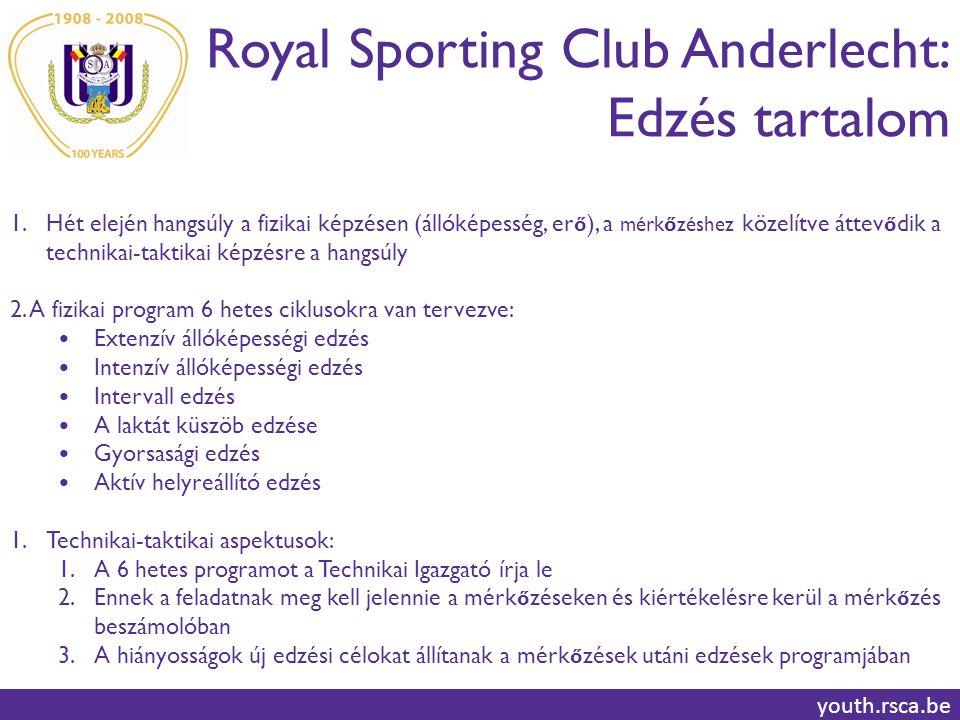 Royal Sporting Club Anderlecht: Edzés tartalom