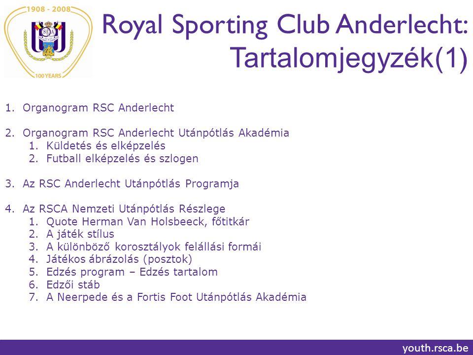 Royal Sporting Club Anderlecht: Tartalomjegyzék(1)