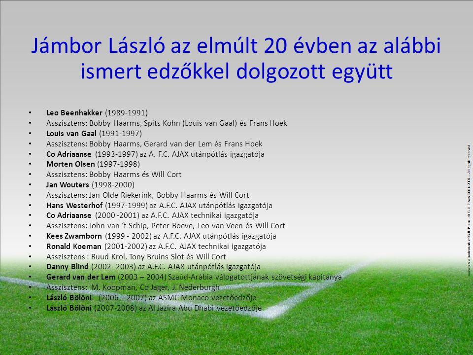 Jámbor László az elmúlt 20 évben az alábbi ismert edzőkkel dolgozott együtt