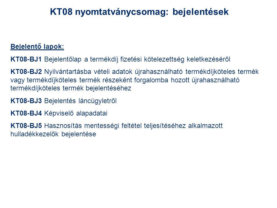 KT08 nyomtatványcsomag: bejelentések