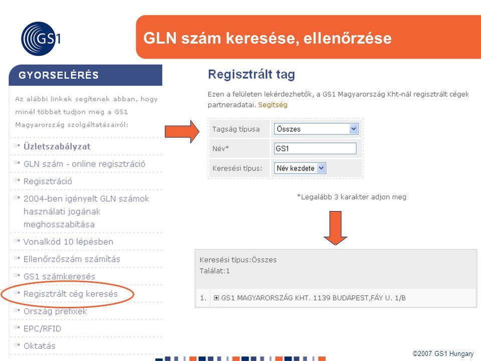 GLN szám keresése, ellenőrzése