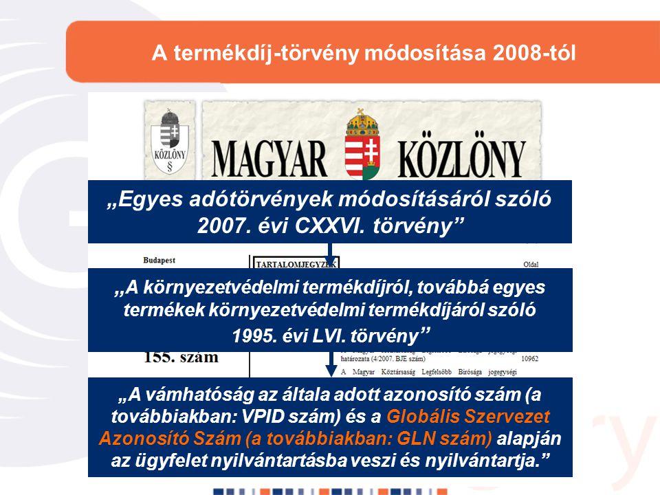 A termékdíj-törvény módosítása 2008-tól