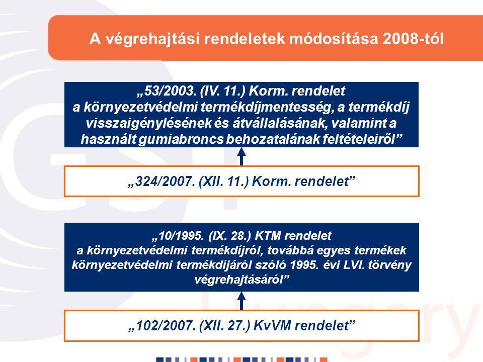 A végrehajtási rendeletek módosítása 2008-tól
