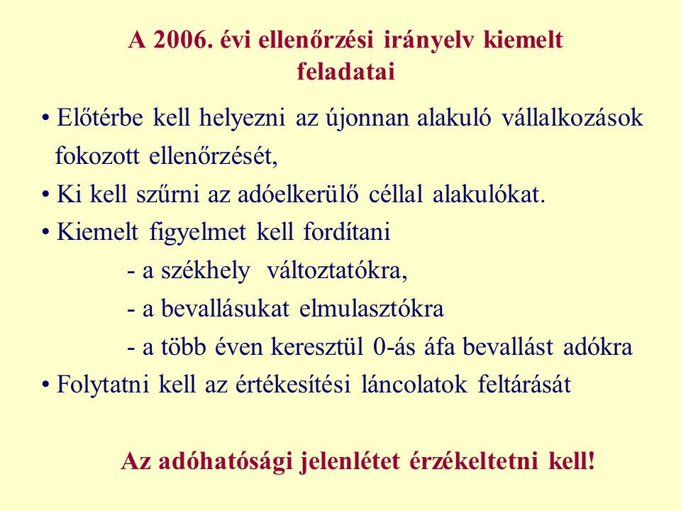 A 2006. évi ellenőrzési irányelv kiemelt feladatai