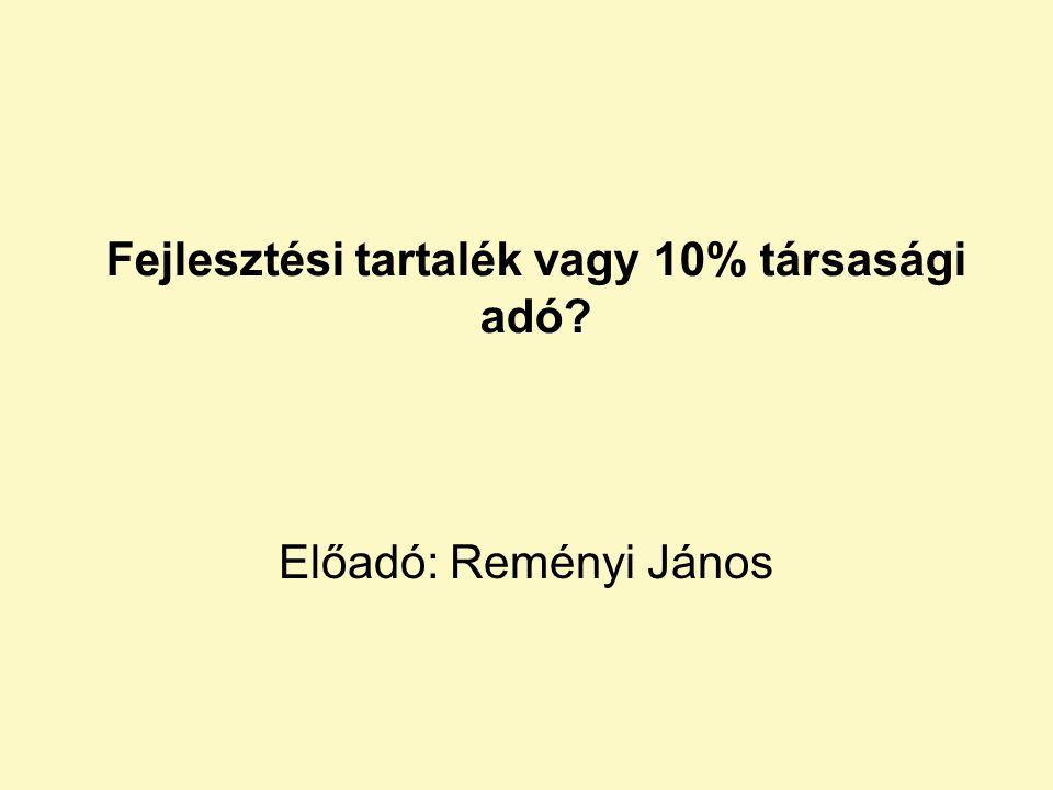 Fejlesztési tartalék vagy 10% társasági adó