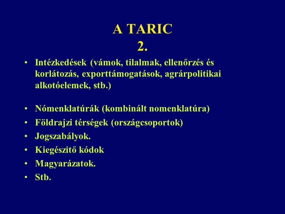 A TARIC 2. Intézkedések (vámok, tilalmak, ellenőrzés és korlátozás, exporttámogatások, agrárpolitikai alkotóelemek, stb.)