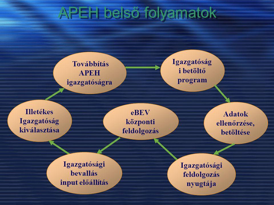 APEH belső folyamatok Igazgatósági betöltő program