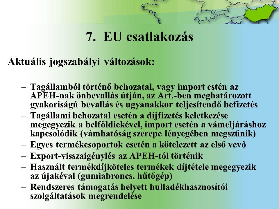 7. EU csatlakozás Aktuális jogszabályi változások:
