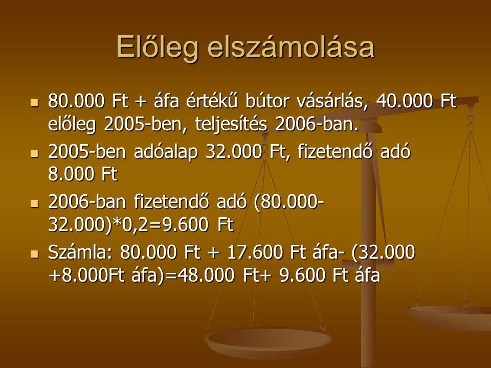 Előleg elszámolása 80.000 Ft + áfa értékű bútor vásárlás, 40.000 Ft előleg 2005-ben, teljesítés 2006-ban.