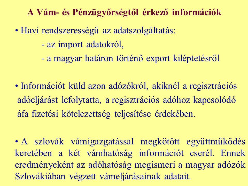 A Vám- és Pénzügyőrségtől érkező információk