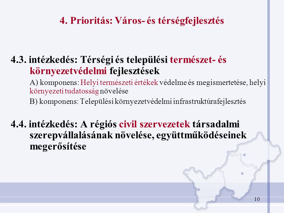 4. Prioritás: Város- és térségfejlesztés